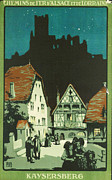 Vine Leaves Digital Art Posters - Kaysersberg Alsace Poster by Nomad Art And  Design