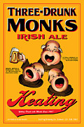 Drunk Drawings Prints - Keating Three Drunk Monks Print by John OBrien