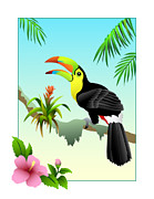 Tropical Rainforest Digital Art Prints - Keel-Billed Toucan Print by Amanda Sherman