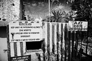 Stop Sign Prints - keep away no photographs of restricted area of the UN buffer zone in the green line dividing cyprus Print by Joe Fox