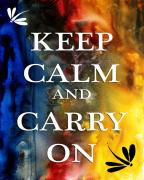 Yellow On Blue Framed Prints - Keep Calm and Carry On by MADART Framed Print by Megan Duncanson