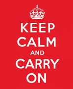 Posters Framed Prints - Keep Calm And Carry On Framed Print by English School