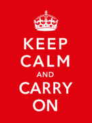 War Propaganda Digital Art Metal Prints - Keep Calm And Carry On Metal Print by War Is Hell Store