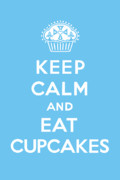 Bird Drawing Posters - Keep Calm and Eat Cupcakes - blue Poster by Andi Bird