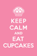 Drawing Metal Prints - Keep Calm and Eat Cupcakes - pink Metal Print by Andi Bird