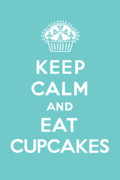 Bird Drawing Prints - Keep Calm and Eat Cupcakes - turquoise  Print by Andi Bird