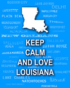 Typography Map Digital Art - Keep Calm and Love Louisiana State Map City Typography by Keith Webber Jr