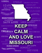 Typography Map Digital Art - Keep Calm and Love Missouri State Map Typography by Keith Webber Jr