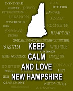 Concord Digital Art Framed Prints - Keep Calm and Love New Hampshire State Map City Typography Framed Print by Keith Webber Jr