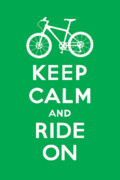 Share Prints - Keep Calm and Ride On - Mountain Bike - green Print by Andi Bird