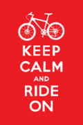 Share Prints - Keep Calm and Ride On - Mountain Bike - red Print by Andi Bird