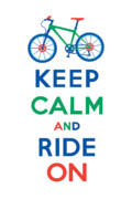 Andi Bird Framed Prints - Keep Calm and Ride On - Mountain Bike Framed Print by Andi Bird