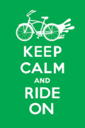 Andi Bird Digital Art Framed Prints - Keep Calm and Ride On Cruiser - green Framed Print by Andi Bird