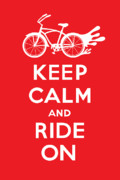 Andi Bird Digital Art Framed Prints - Keep Calm and Ride On Cruiser - red Framed Print by Andi Bird