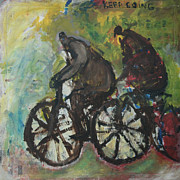 Cyclists Paintings - Keep Going by Leo  De Jong