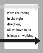 Inspirational Saying Posters - Keep On Walking Poster by Marianne Beukema