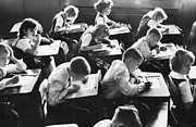 Desks Prints - Keep Your Eyes on Your Own Paper Print by M E Warren and Photo Researchers