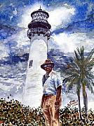 Cape Florida Lighthouse Posters - Keeper of the Cape Florida Lighthouse Poster by Jon Schaubhut