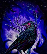 Gothic Crows Mixed Media Prints - Keeper of the Crow Night Watch Print by Tisha McGee