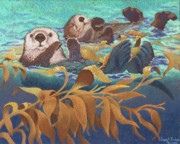 Mammal Pastels Posters - Keepers of the Kelp Poster by Tracy L Teeter