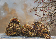 Winter Scene Painting Originals - Keeping Company by Enzie Shahmiri