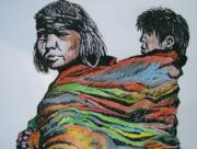 Mother And Child Drawings - Keeping Warm by Leslie Manley