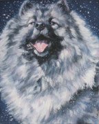 Puppy Paintings - Keeshond in Snow by Lee Ann Shepard