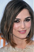 Pink Lipstick Photo Framed Prints - Keira Knightley At Arrivals For A Framed Print by Everett