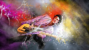 Rolling Stones Mixed Media Metal Prints - Keith Richards 02 Metal Print by Miki De Goodaboom