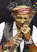 Keith Richards Drawings - Keith Richards by Chris Fader