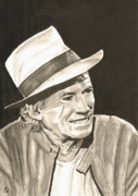 Record Player Drawings - Keith Richards by Frank Hamilton