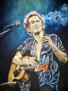 Acoustic Guitar Paintings - Keith Richards by Lance Gebhardt