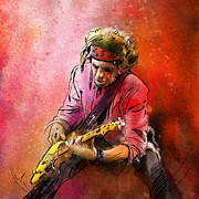 Rolling Stones Mixed Media Metal Prints - Keith Richards Metal Print by Miki De Goodaboom