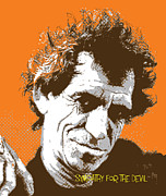 Rolling Stones Posters - Keith Richards - Pop Art Portrait Poster by Martin Deane