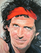 Celebrity Portraits Painting Originals - Keith Richards by Timothe Winstead
