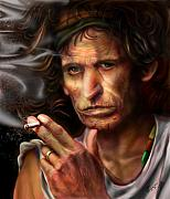 Rolling Stones Painting Prints - Keith Richards1-Burning lights 4 Print by Reggie Duffie