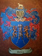Family Coat Of Arms Art - Kelly Coat of Arms and Family Crest by Nancy Rutland