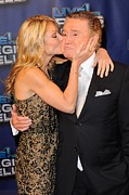 Celebrity Candids - Monday Framed Prints - Kelly Ripa, Regis Philbin, Pose Framed Print by Everett