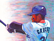 Major League Baseball Painting Prints - Ken Griffey Jr Print by Jeff Gomez