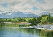 Alaska Painting Posters - Kenai Lake Early Morning Spring Poster by Sharon Freeman