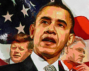 Leaders Digital Art Posters - Kennedy-Clinton-Obama Poster by Anthony Caruso