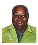 Leaders Drawings Prints - Kenneth Davis Kaunda Print by Emmanuel Baliyanga