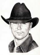 Graphite Portrait Drawings Prints - Kenny Chesney Print by Murphy Elliott