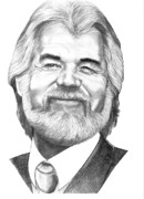 Famous People Drawings - Kenny Rogers by Murphy Elliott