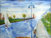 Boats In Water Paintings - Kenosha Wisconsin Harbor Boating  by Kenneth Michur