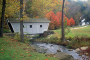 Connecticut Prints - Kent Falls Covered Bridge Print by John Burk