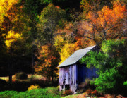 Fall Foliage Photos - Kent Hollow II - New England rustic barn by Thomas Schoeller