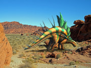 Prehistoric Mixed Media - Kentrosaurus in the Desert by Frank Wilson