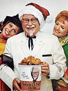 Santa Claus Prints - Kentucky Fried Chicken Ad Print by Granger