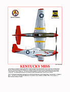 Bomber Escort Posters - Kentucky Miss Poster by Jerry Taliaferro
